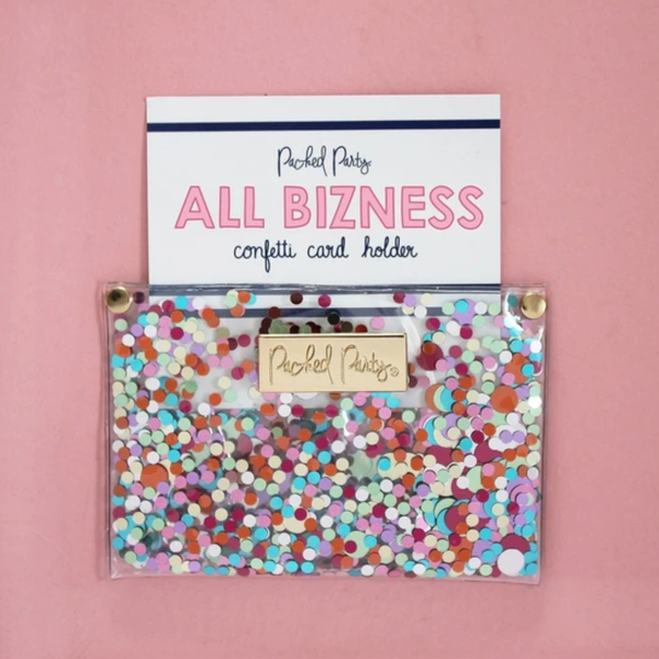 All Bizness Confetti Business Card Holder