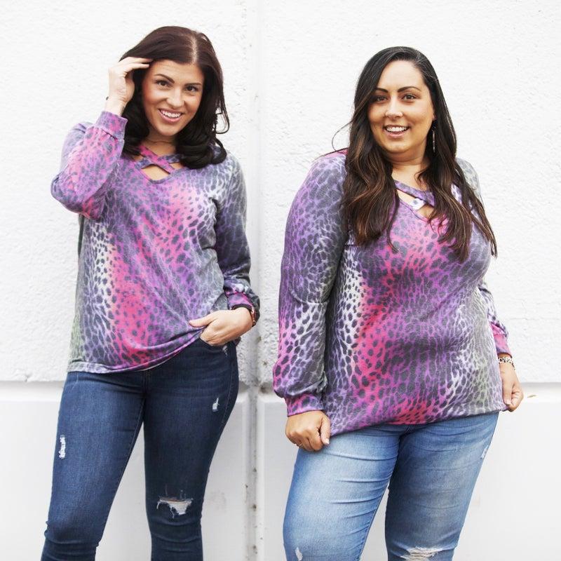 Jewel Tone Leopard Criss Cross V-Neck Sweater Top - Reg/Plus