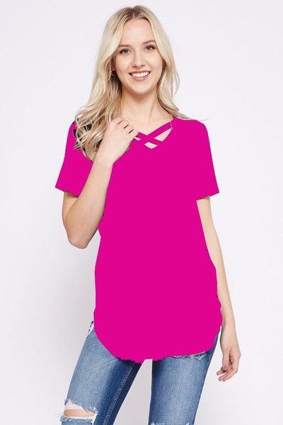 Curvy - Hot Pink Criss Cross Basic Tee - Plus