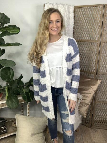 Denim Striped Popcorn Sweater Cardigan