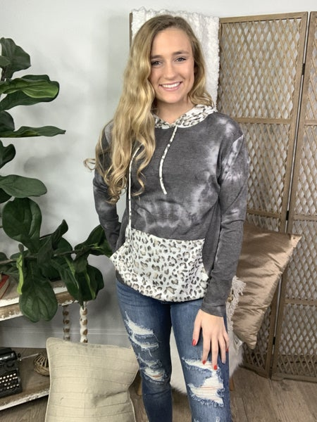 Heather Grey Tie Dye and Leopard Contrast Kangaroo Pocket Hoodie *Final Sale*