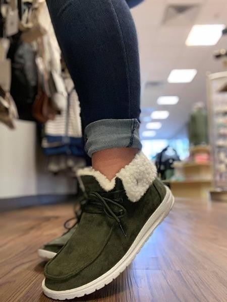 Khaki Plush High Top Sneaker *Final Sale*