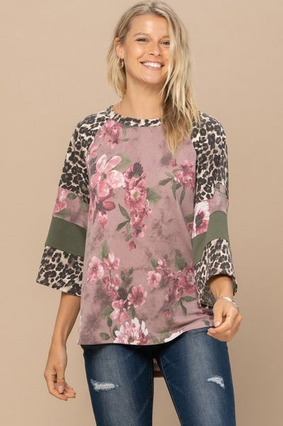Sage Floral and Leopard Contrast Top