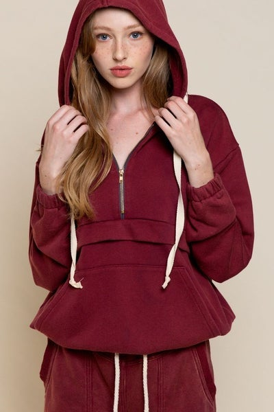 Burgundy Stone Hoodie Top with Kangaroo Pocket