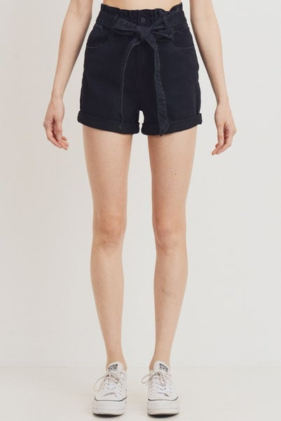 Black Elastic Band Two Button Cuffed Shorts
