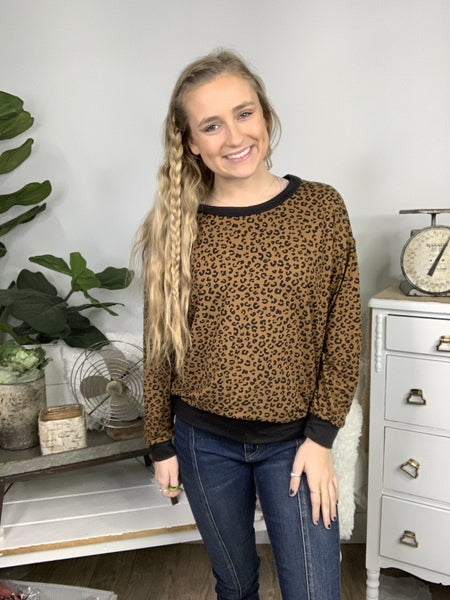 Bronze Combo Long Sleeve Cheetah Top *Final Sale*