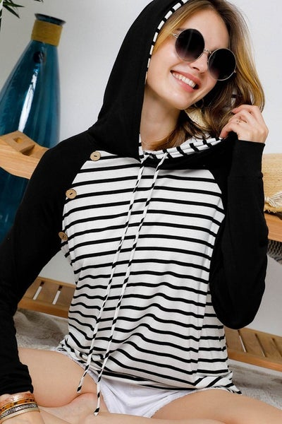 Ivory and Black Stripe Sleeve Button Detail Hoodie