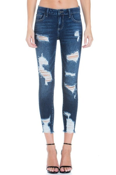 Distressed Crop Skinny