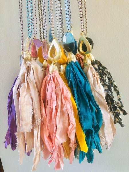 Solid Silk Tassel Necklaces 1