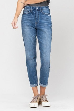 Roll Up Stretch Mom Jeans *Final Sale*