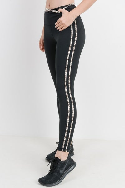 Black Snow Jaguar Print Striped Highwaist Leggings