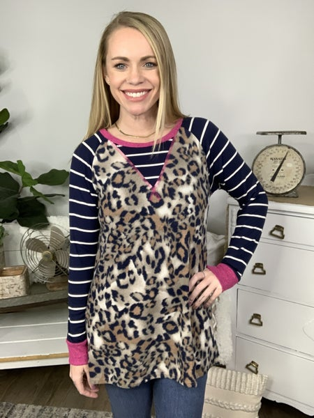 Taupe and Navy Top *Final Sale*