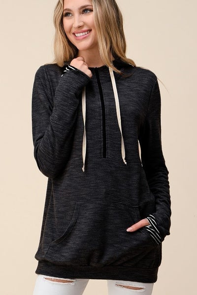 Black and Black Stripe Printed Hoodie with Kangaroo Pocket