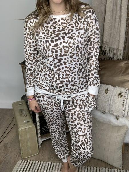 Ivory/Mocha Leopard Jogger Pant