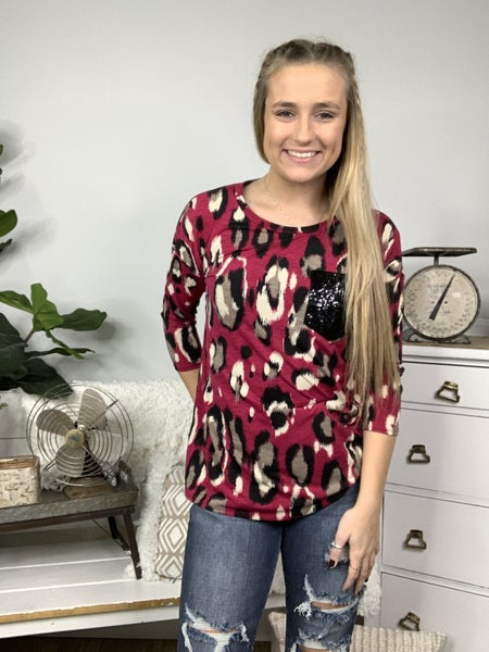 Magenta and Black with Top Pocket Top *Final Sale*