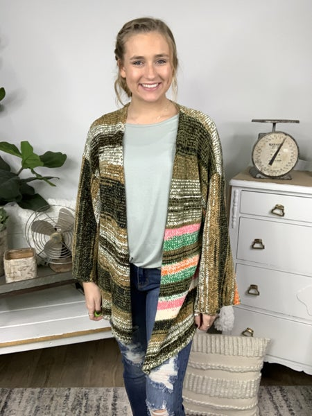 Forest Sunshine Multi Color Striped Cardigan