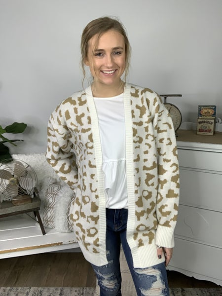 Cream and Taupe Leopard Sweater Cardigan