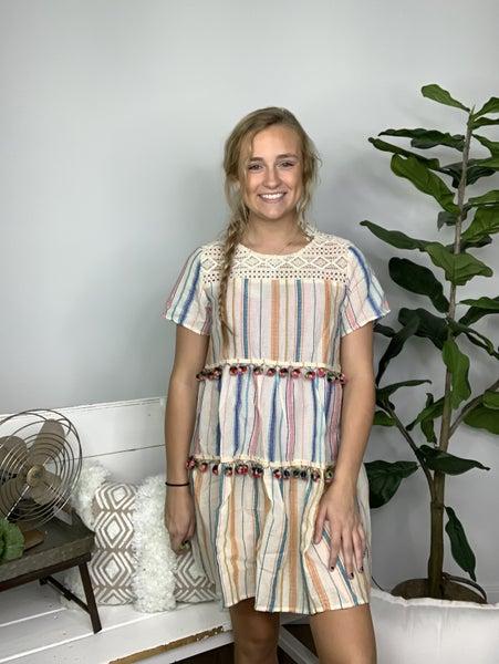 Multi-Colored Striped Dress with Tiered Pom Pom Trim *Final Sale*
