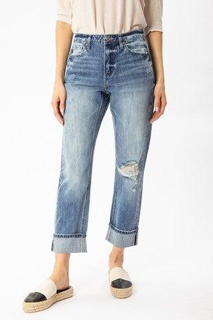Medium High Rise Cuffed Straight Jean