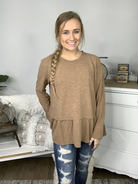 Earthy Taupe Hacci Top with Bottom Ruffle