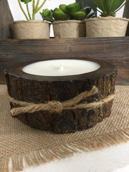 Sugared Lemon Small Tree Bark Pot Candle