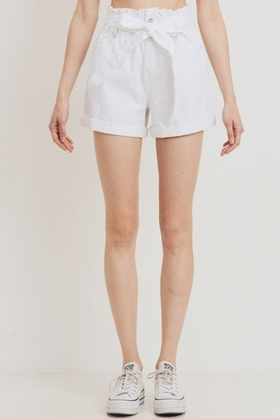 White Elastic Band Two Button Cuffed Shorts