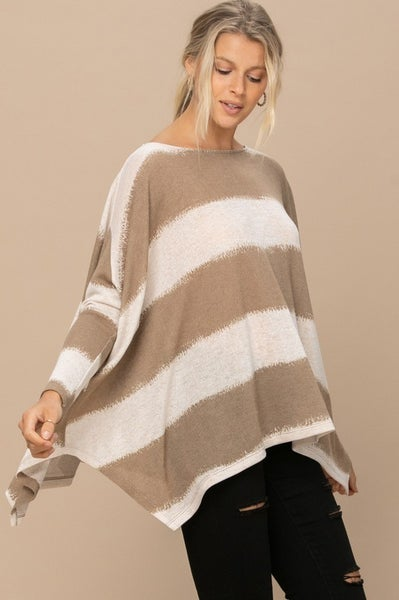 Taupe Striped Poncho Top