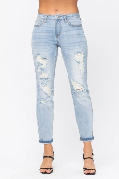 Light Wash Destroyed Mid-Rise Boyfriend Jeans