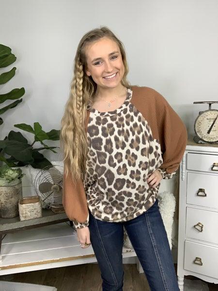 Tan Leopard Print Dolman Sleeve Top *Final Sale*