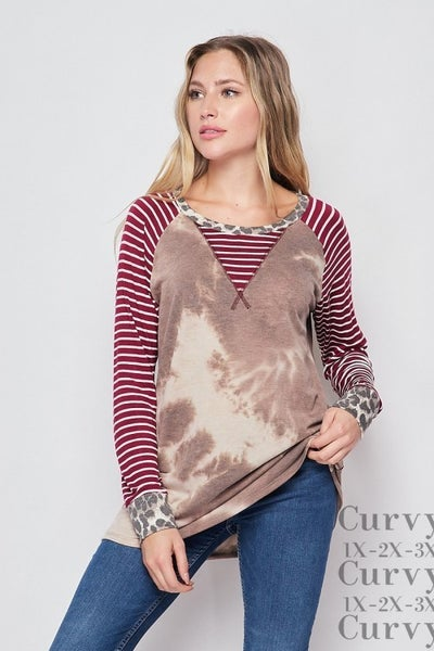 Brown and Taupe Tie Dye with Animal Print Detail *Final Sale*
