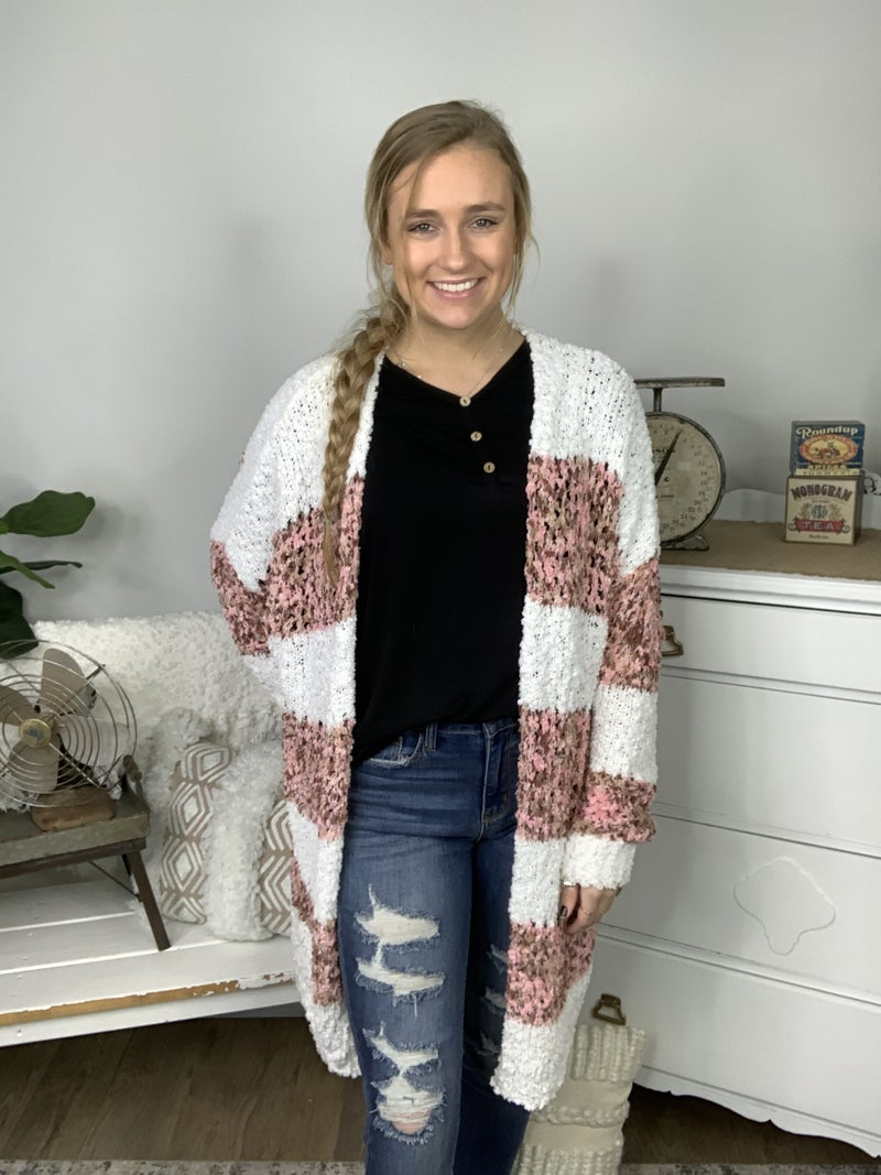 Mauve Multi Color Stripe Fuzzy Cardigan