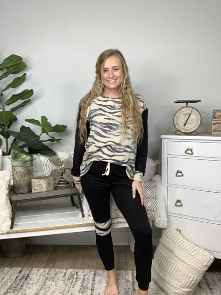 Taupe and Charcoal Tiger Printed Lounge Top *Final Sale*