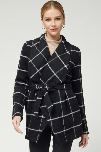 Black Plaid Shawl Collar Jacket
