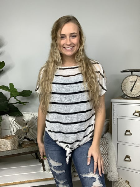 Off White Striped Top with Front Tie *Final Sale*