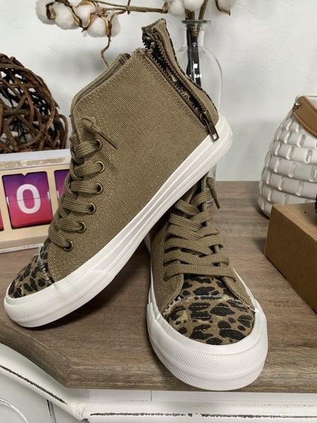 Tan and Animal Print Sneakers