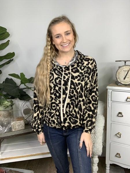 Cream and Black Long Sleeve Leopard Print Hoodie *Final Sale*