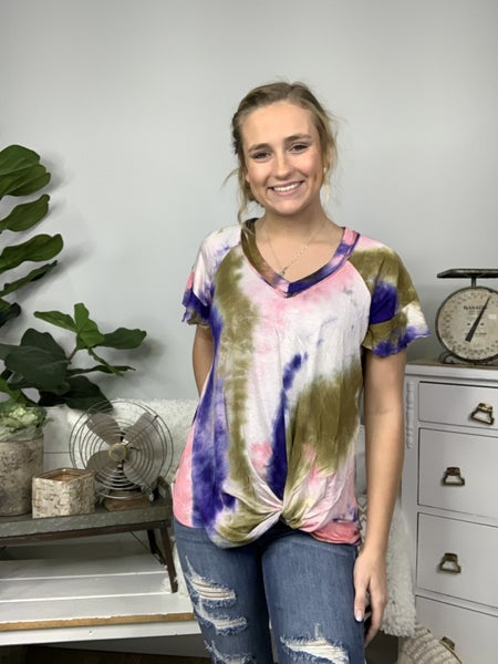 Pink Short Sleeve Tie Dye Top with Gathered Twist Front *Final Sale*