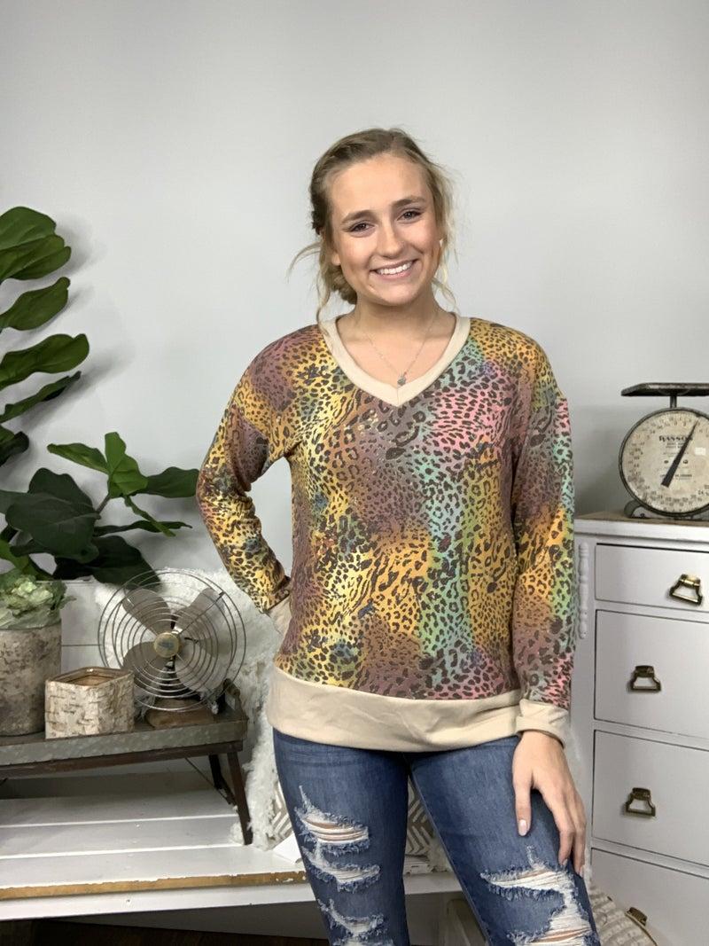 Multi Color Long Sleeve Cheetah Print Top *Final Sale*