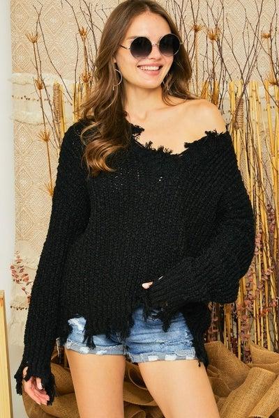 Black Distresssed Boat Neck Knit Sweater