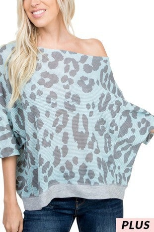 Mint Off The Shoulder Animal Print 3/4 Sleeve Top