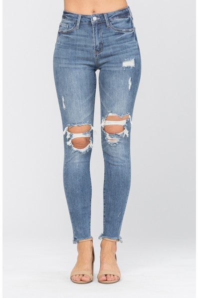Medium Wash Knee Destroy Skinny Jean