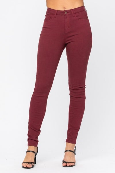 Judy Blue Hi Waist Colored Skinny - Wine *Final Sale*