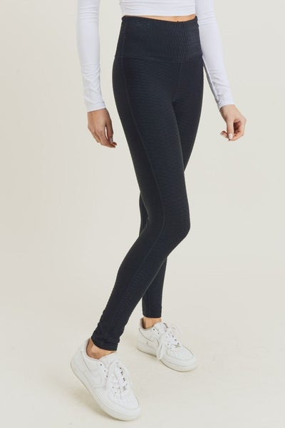 Black Textured Jacquard Lycra Blend Highwaist Leggings