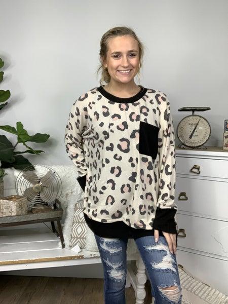 Beige Cheetah Print Top with Black Trim Detail *Final Sale*