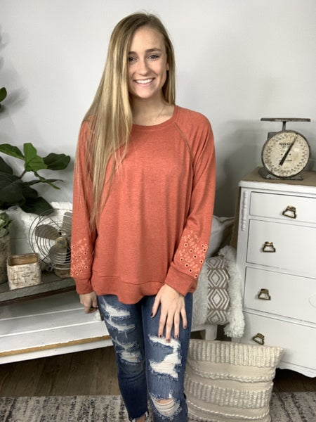 Rust Top with Embroidery Sleeves