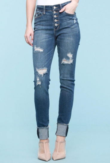Destroyed Button Fly Cuff Skinny