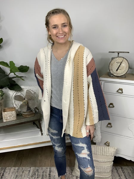 Ivory Color Block Button Up Sweater Cardigan