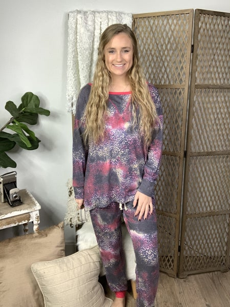 Grey and Red Tie Dye and Animal Print Lounge Pants *Final Sale*