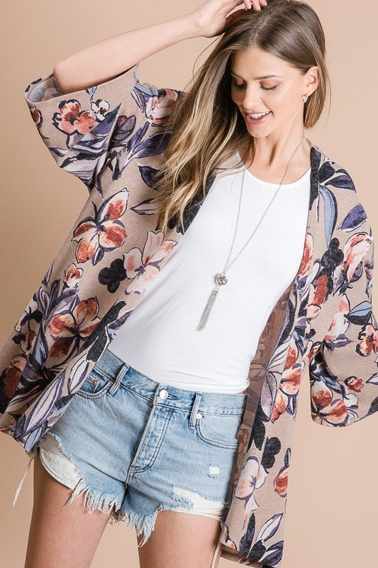 Red and Brown Floral Print Cardigan