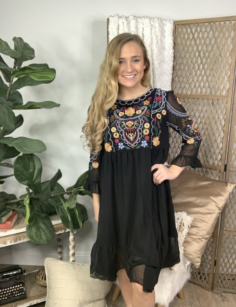 Black Midi Dress with Embroidery Detail